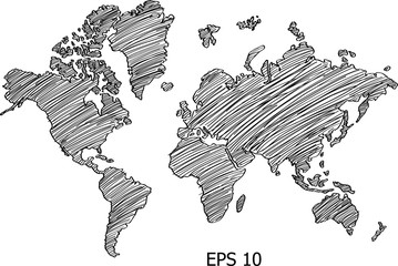 World Map Globe Vector line Sketch Up Illustrator, EPS 10.
