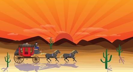 western scene with stagecoach wagon