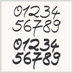 handwritten numbers in two font styles