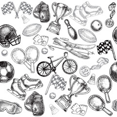 sport items seamless pattern