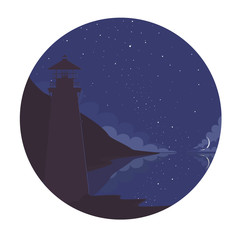 The lighthouse on a moonlit night