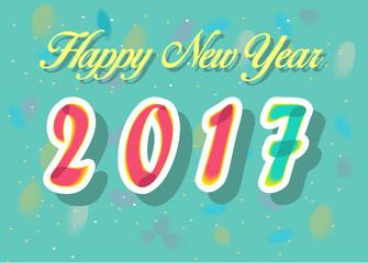 Happy New Year 2017. Watercolor numerals