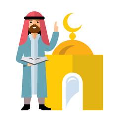 Vector Islamic Prayer. Flat style colorful Cartoon illustration.