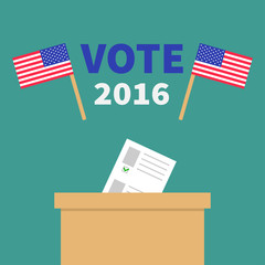 Ballot Voting box with paper blank bulletin concept. Polling station. President election day Vote 2016. Crossed American flag set. Isolated Green background Flat design Card