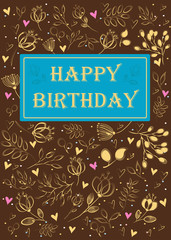 Happy birthday. Floral card