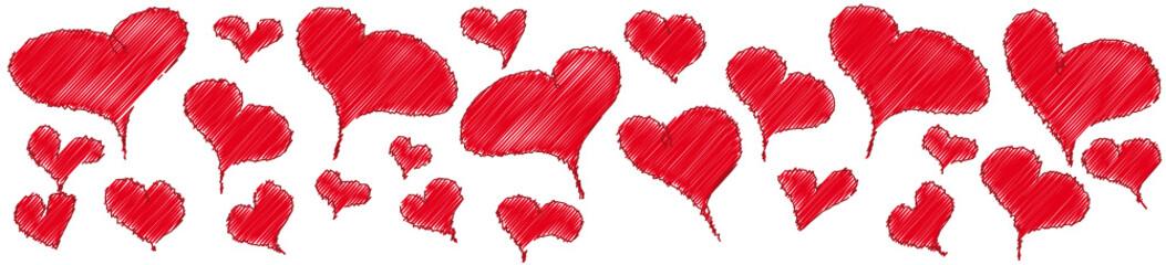 Banner mit roten Herzen