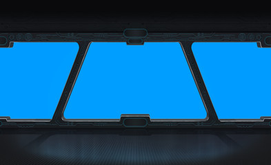 Futuristic space station window 3D rendering
