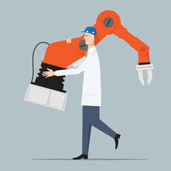 Industry 4.0 Factory Automation Concept. Engineer carrying robot hand..
