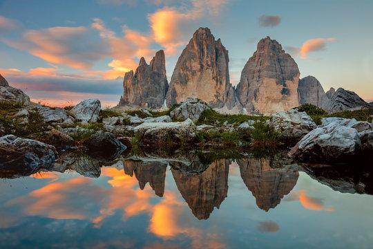 Tre Cime di Lavaredo at beautiful sunrise, Italy, Europe