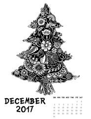 2017 calendar page of month