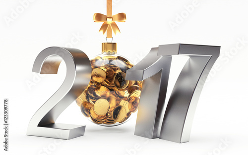 silver 2017 new year with transparent christmas ball full of golden coins isolated on white background