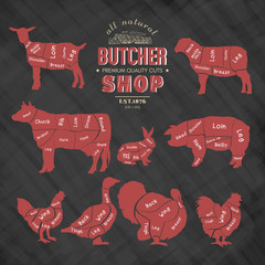 Diagrams for butcher shop. Farm animals silhouette.