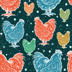 Roosters seamless pattern symbol of new year 2017