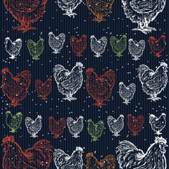 Roosters decorative seamless pattern symbol rooster new year
