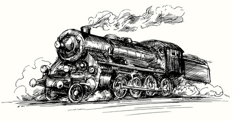 Steam locomotive.Hand drawn illustration.