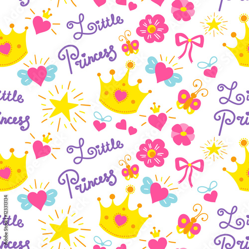 quotlittle princess pattern vector cute girl background for