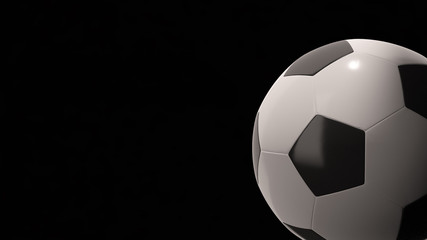 3D render of a soccer ball on dark background