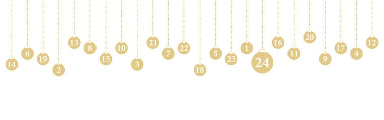 Adventkalender Karte mit hängenden Kugeln (in Gold)