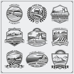 Vector illustration of retro landscapes. Farm fresh food labels, badges, emblems and design elements. Organic, ecology and bio natural design. Set of vintage premium quality labels.