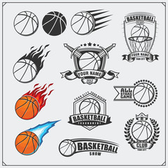 Set of Basketball icons, labels, badges, emblems and design elements. Basketball tournament design.