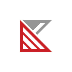 Triangle Stripes K Letter Abstract Logo Template