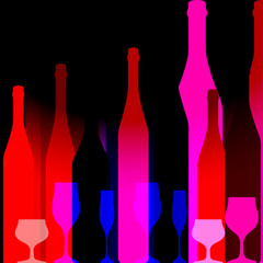 Red background with bottles of wine