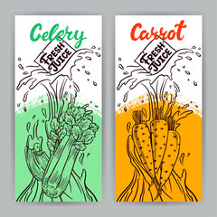 banners of carrot and celery juice