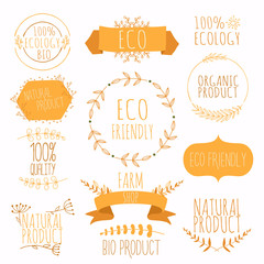 Collection of orange labels and badges for organic, natural, bio