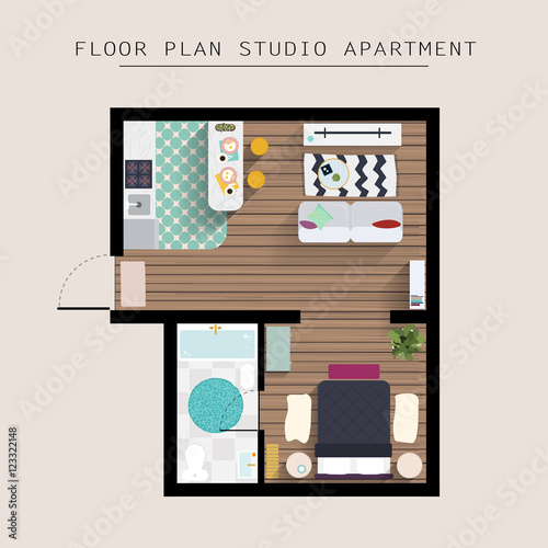 Detailed apartment furniture overhead top view studio for Best place to buy furniture for first apartment