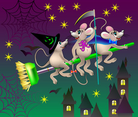 Greeting card with funny mice celebrating Halloween, vector cartoon image.
