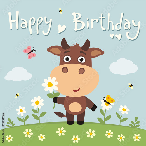 Happy Birthday Cute Cow With Flower Camomile On Flower Meadow