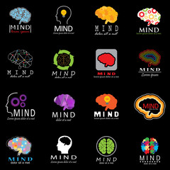 Mind Icons Set - Isolated On Black Background - Vector Illustration, Graphic Design. For Web, Websites, Print, Presentation Templates, Mobile Applications And Promotional Materials