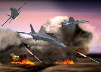 Militär Kampfjets bombardieren, Raketenabschuß