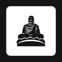 Buddha statue icon in simple style isolated on white background. Monuments symbol