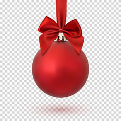 Red Christmas ball on transparent background.