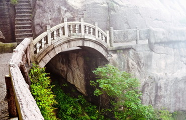 Stone bridge in Huangshan mountains, China