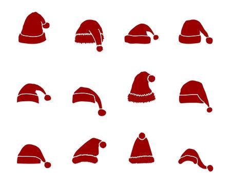 Weihnachten Mütze Iconset - Rot