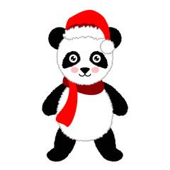 Cartoon panda wearing Santa hat. Vector Illustration. Isolated