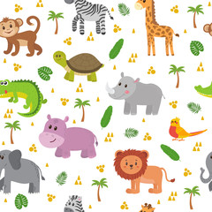 African animals seamless pattern. Cute cartoon childish animals