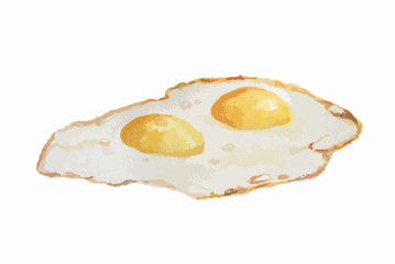 Isolated watercolor fried eggs on white background. Healthy and tasty food for breakfast.