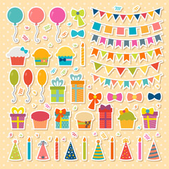 Set of birthday party design elements, stickers. Colorful balloo