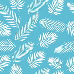 Tropical white palm tree leaves seamless pattern. Cute floral ba