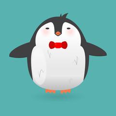 Cartoon penguin character. Funny bird.