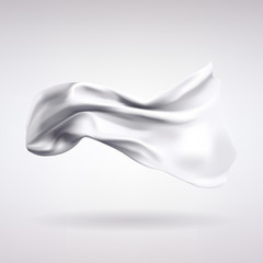 White Satin Fabric Flying in the Wind