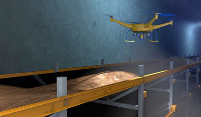 3D illustration of a UAV drone inspecting a conveyor in an underground mine. Fictitious conveyor assembly; lens flare, depth-of-field and motion blur for dramatic effect.