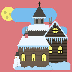 Winter village,church,snowman