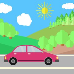 Red Car on a Road on a Sunny Day. Summer Travel Illustration. Car over Landscape.