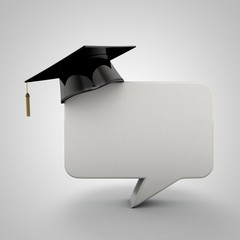 3D illustration of comment box with graduation hat