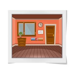 Cartoon photo frame with interior office room in peach blossom style. Vector illustration