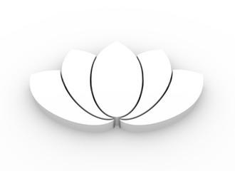 Lotus flower symbol. 3D rendering. Design element for branding